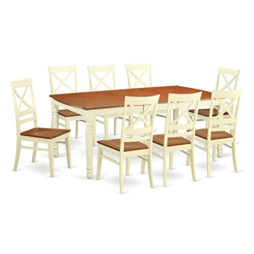 DOQU9-WHI-W 9 Pc Dining room set -Table and 8 Dining Chairs