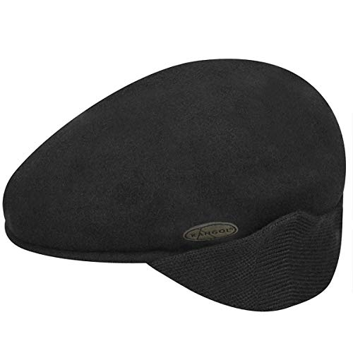 Kangol Wool 504 Earlap Bonnet, Noir, Medium Homme