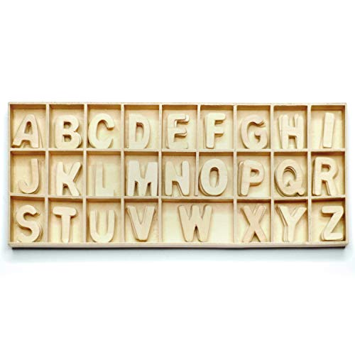 PARAES Letras de madera color natural - 130 letras - Letras madera - Letras de madera decorativas - Nombre madera - Madera manualidades - abecedario para niño - juego de letras - s