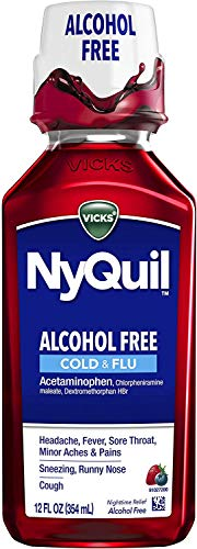 Vicks NyQuil Cold & Flu Medicine, Alcohol Free, 12 fl oz, Berry Flavor - Relieves Headache, Fever, Sore Throat, Minor Aches & Pains (Packaging May)