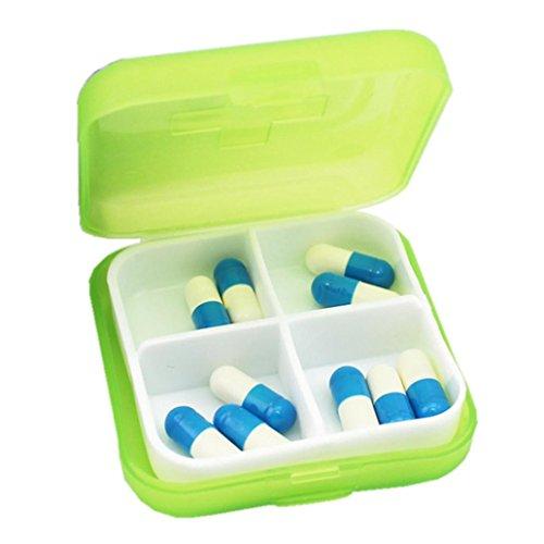 Sensail Organisateur de voyage portable Rappel de prescription et de médicament Pill Box Poche Distributeur de boîte à pilules Récipient de vis de bijoux, 4 compartiments … (Vert)
