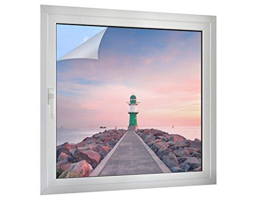 Klebefieber Sichtschutz Leuchtturm in der Dämmerung B x H: 30cm x 30cm