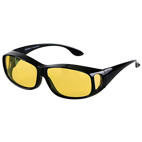 Night Vision Glasses for Driving Men Women Anti Glare Polarized Clearsight Wrap Around Fit Over Sunglasses ANDWOOD
