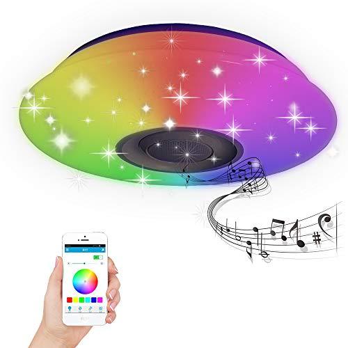 BAGZY Luz de Techo musical LED Moderno Inteligente Cambio de Color Interior Lámpara de Techo 36W 220V Bluetooth Remoto Control Regulable para Lounge Cocina de la Habitación de los Niños Sala Cuarto