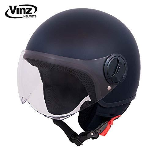 Vinz Rollerhelm Jethelm Basic | Jet Roller Motorrad Helm | in Gr. XS-XL | Helm mit Visier | ECE zertifiziert (M (57-58 cm), Matt Schwarz)