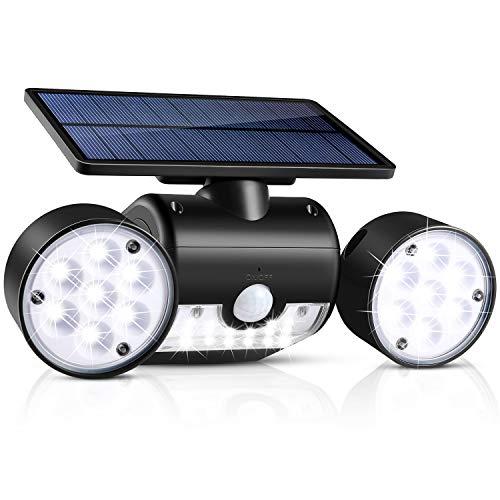 Solarleuchte im Freien, wasserdichte UNIFUN 30 LED, Solarwandleuchte mit zwei Scheinwerfern, um 360 Grad drehbare Solar-Sicherheitsleuchte mit Bewegungsmelder im Freien