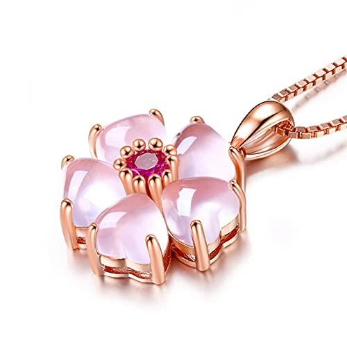 Collares con colgante de cristal de ópalo rosa rubí en tono dorado rosa para mujer, gargantilla de piedras preciosas, joyería, Bijoux, flor