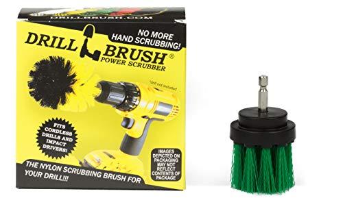 Drillbrush Long Green Bristle 2 pouces de diamètre moyen de nettoyage Powered Rigidité méchage Brosse pour perceuse sans fil et visseuses à chocs vert moyen