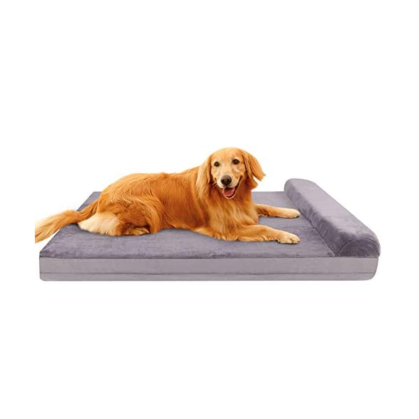 JoicyCo Dog Bed Crate Mat Dog Beds for Large Dogs Pet Beds Foam Cushion Anti-Slip with Washable Cover