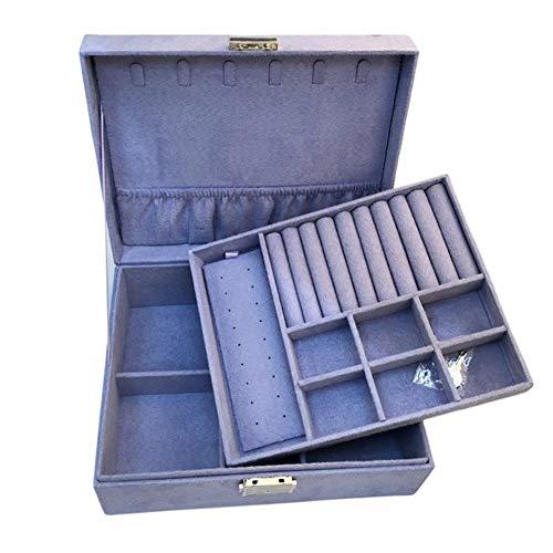 YHDNCG Joyero, caja de joyería de 2 capas, de franela, pequeña joyería, pendientes, collar, caja de almacenamiento de joyas, para viajes familiares