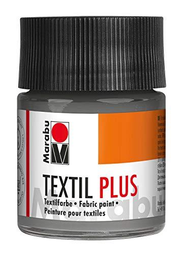 Marabu-Textil Plus-Colore Scuri Completamente Coprente, Adatto per Pittura Stampa su Tessuto, Lavabile Fino a 40 °C, 50 ml, Grigio, 17150005078