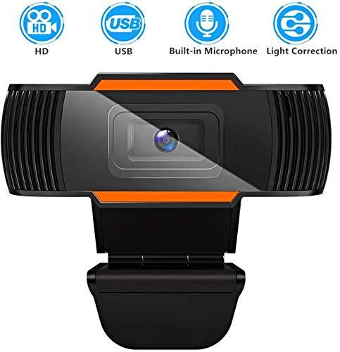 GOODaaa HD Webcam mit Mikrofon Kompatibel für Skype Windows 10, Webkamera mit 2 in 1 USB & Audio Kabel für Konferenzen, PC, Laptop, Desktop, Mac