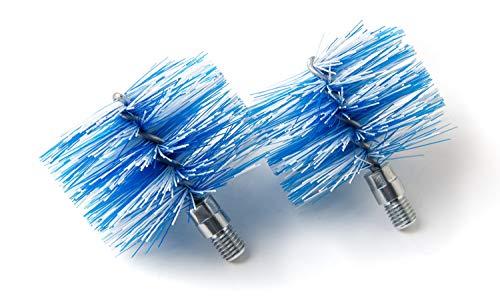 BARETTO - 2 Spazzole di Ricambio - Scovoli Pellet 80mm Nylon, Vite 12MA - Spazzola Pulizia Stufa a Pellet Tubi Canna Fumaria