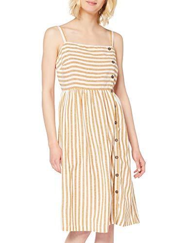 Dorothy Perkins Linen Look Stripe Button Cami Dress Vestido, Amarillo (Yellow 410), 40 (Talla del Fabricante: 12) para Mujer