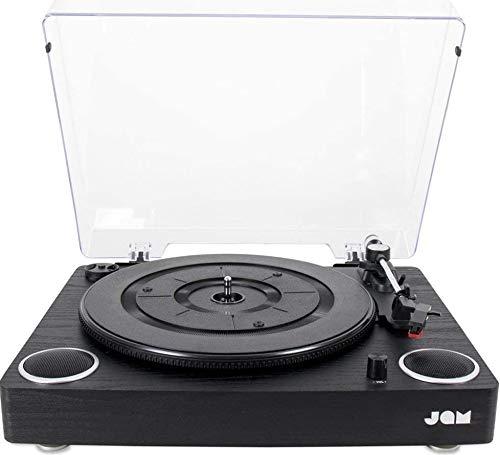 JAM Play Vinyl Plattenspieler Aufnahmefunktion (3 Geschwindigkeitsstufen + Riemenantrieb, Qualitativ hochwertige Keramik Kartusche Integrierte Lautsprecher, Aux-In, RCA Out und Staubschutz)
