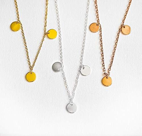 Münz Coin Kette - 3 Plättchen - Goldfarben/Silberfarben/Rose Goldfarben - Layering - Plättchenkette - Münzen