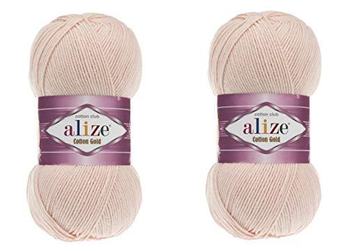 Alize Baumwolle Gold Garn 55% Baumwolle 45% Acryl Häkelgarn Handstricken Art Lot von 2 Knäuel 200 g 722yds 382-Nude