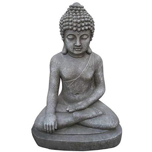 Imhof Stevens Sculpture de Bouddha assis - Gris pierre - Hauteur : 40 cm