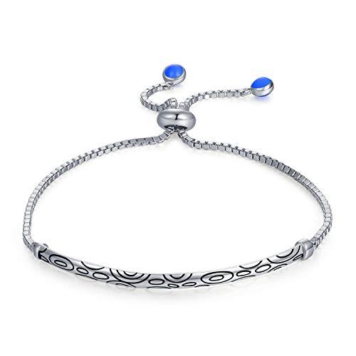 JewelryPalace 925 Sterling Silber Auspicious Cloud Gravierte Schwarze Emaille Kreise Blase Einstellbar Armreif Baumeln Blau Emaille Ball End