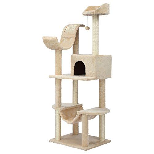Finether-Árbol para Gato con Rascador Casitas para Gatos Juguete de Sisal Natural,...