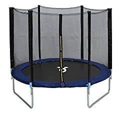 Features : Safety net, EPE foam padding, Galvanised steel frame Includes : 1x trampoline, 1x safety net, 3x legs, 6x enclosure poles Material : Galvanised steel legs, UV resistant polypropylene fabric, Expanded polythene foam, UV resistant polyester ...