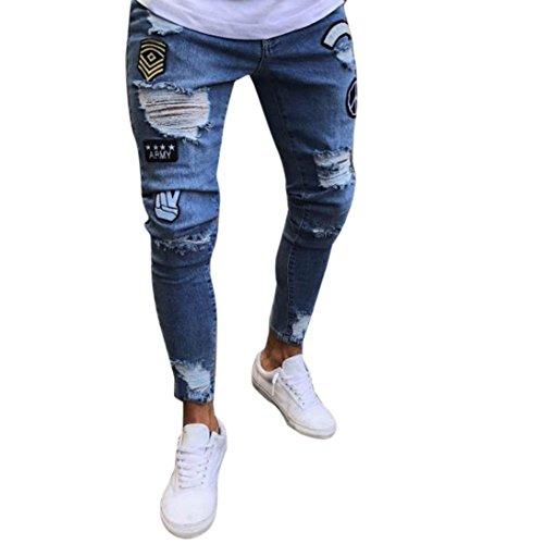 KPILP Männer Herren Stoffhose Slim Biker Zipper Jeans Skinny ausgefranste Stoffhose aus Stretch-Material Hose Distressed Rip Hose Lange Hose(Hellblau,M)