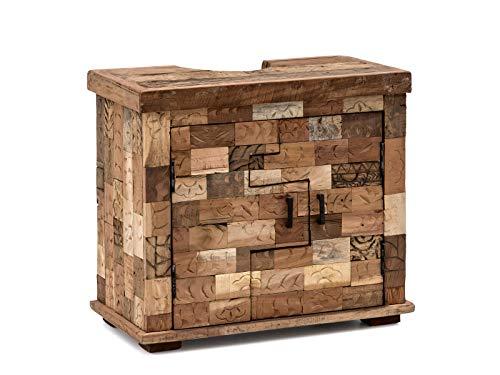 Woodkings® Bad Waschbeckenunterschrank Patna Altholz Möbel rustikal Unikat Holz antik braun Innenleben von Ziegelformen Badschrank Badmöbel Landhaus Unikat recycelt
