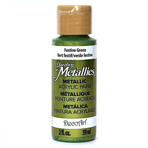 DecoArt Dazzling Metallics 2-Ounce Festive Green Acrylic Paint