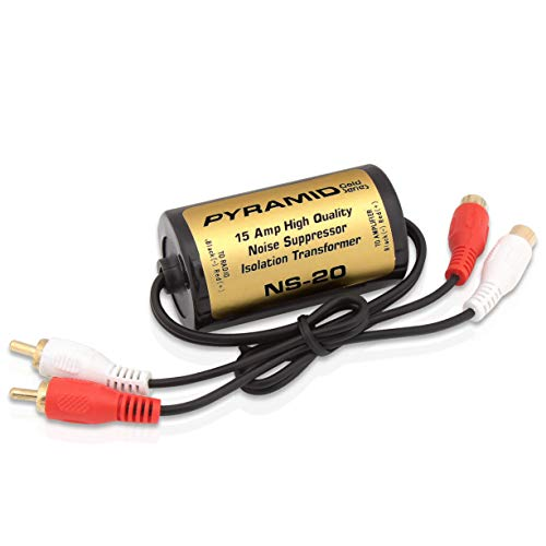 200W 15A RCA Noise Suppressor - Designed for Audio Signals & to Eliminate Noise, Isolation Transformer, Used w/ Amplifier or EQ, Install w/ RCA Jacks & Unique Noise Detection Circuit - Pyramid NS20