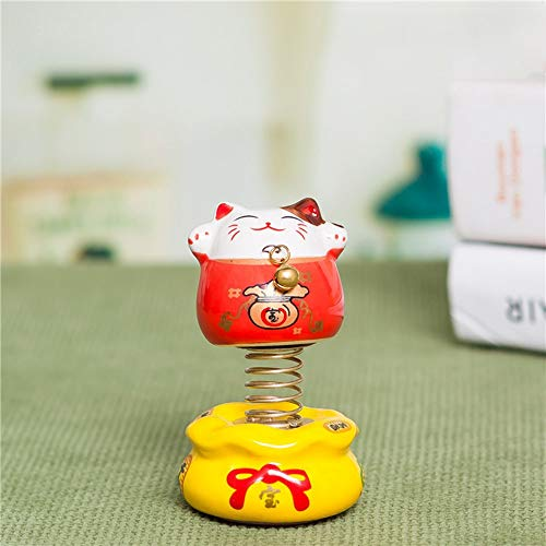 CNSD Car Ornament Lucky Cartoon Spring Cute Cat Toy Ceramics Decoration Auto Interior Dashboard Doll Car-styling Accessories Gifts (Color Name : Red)