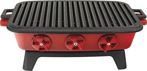 Lava Cookware Barbeque Grill de table fonte émaillée, 36 x 45 cm, 13,75 kg Rouge
