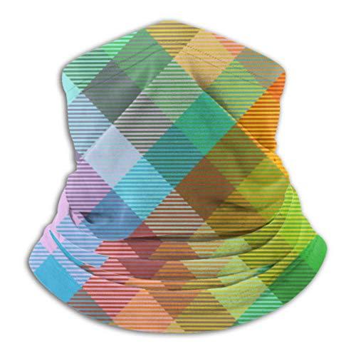 Teemoo Fleece-Nackenwärmer, Multifunktionsschal mit Madras-Karomuster, Regenbogen-Spectre-All-Schal, Vollmaske oder Mütze, Nackenschutz, Nackenkappe, Skimaske, Half Ma