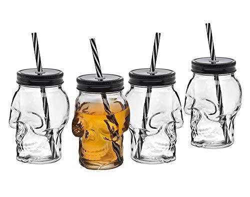 Skull Mason Jar Mug Glass Tumbler Cup With Cover And Straw 16oz Set Of 4