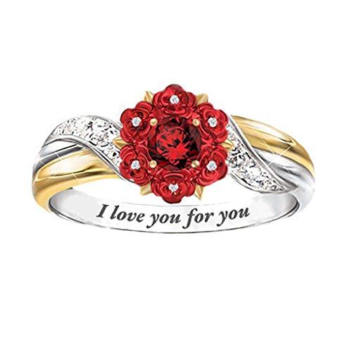Webla - Anillo para mujer, diseño de rosas y diamantes de imitación, talla 6 a 10, diseño de flores, letras grabadas