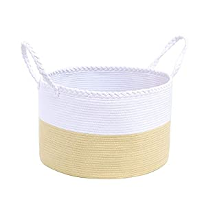 catalpa yao Cotton Rope Basket XXXL Large 22x22x14 Inch Woven Storage with Handles for Blankets, Toys and Nursery Laundry Hamper (White & Beige)