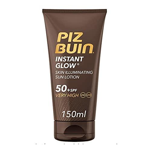 Piz Buin, Instant Glow Protector Solar en Loción SPF 50+, Protección Muy Alta, 150 ml