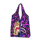 Bolsa de compras reutilizable bolsa de asas plegable bolsa de gran capacidad, 10 dientes de tiburón rosa púrpura camuflaje Bape, Talla única