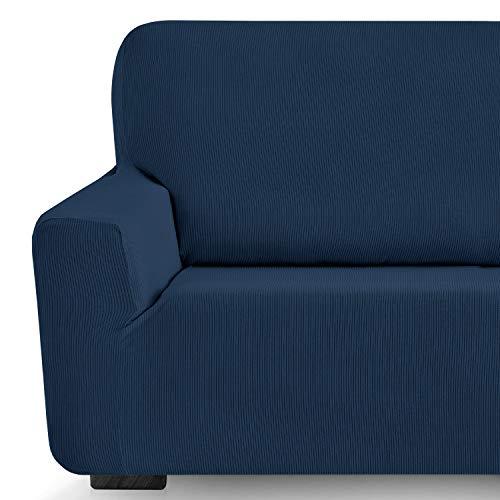 Eiffel Textile Milan Fundas para Sofa Elastica Adaptable Lisa, 94% poliéster 6% Elastano, Azúl, Set 3+2 Plazas