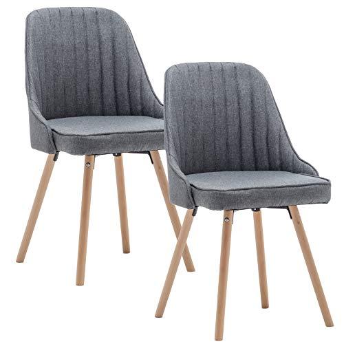 Deuline® 2X Esszimmerstühle Grau - Stoffbezug Esszimmerstuhl SGS Zertifiziert Massivholz Beine Polsterstuhl Retro Design Stühle Sessel Lehnstuhl Copenhagen 521220