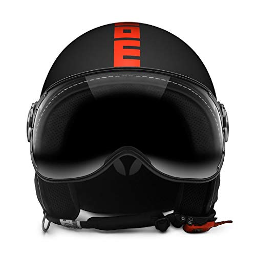 MOMO CASCO BLACK MATT/ORANGE FLUO M