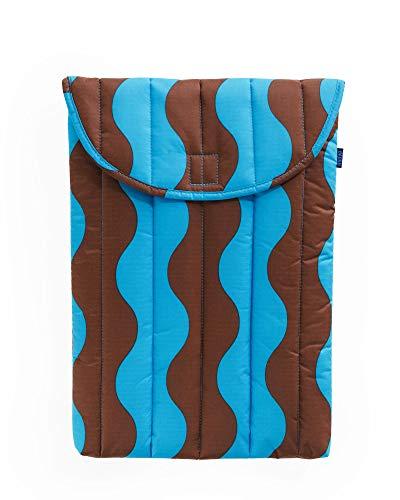 BAGGU Puffy Laptop Sleeve, Ripstop Nylon 16' Electronics Sleeve, Teal and Brown Wavy Stripe