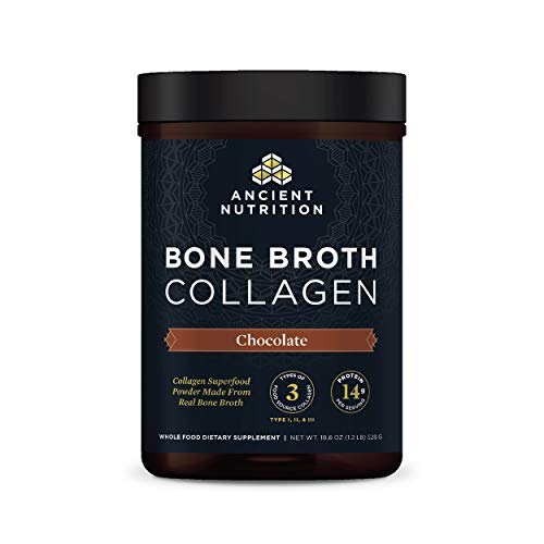Bone Broth Collagen Powder Chocolate, Formulated by Dr. Josh Axe, Food-Sourced Hydrolyzed Multi Collagen Supplement, Supports Joints, Skin and Nails, Non GMO Made Without Gluten & Dairy, 18.6oz