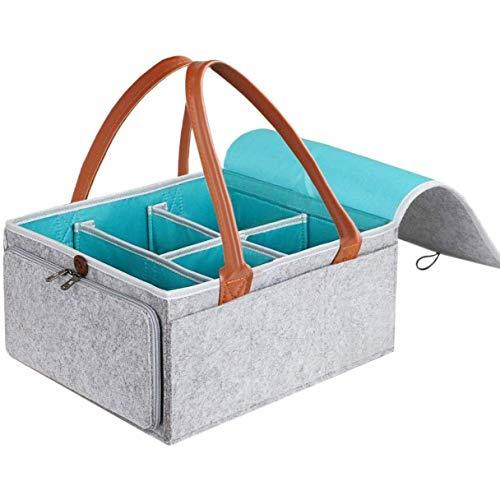 Grande organizer per pannolini per bambini con coperchio con cerniera e manico in pelle per salviettine, contenitore in feltro, grigio, 38 x 25 x 18 cm