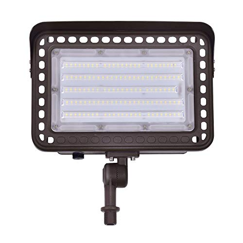 100W LED Flood Light Outdoor, 180° Adjustable Knuckle Mount, 13000LM CRI 90+ 5000K Daylight IP65 Waterproof Rating Outdoor Flood Light Security Lighting Fixture for Yard Garden Garage