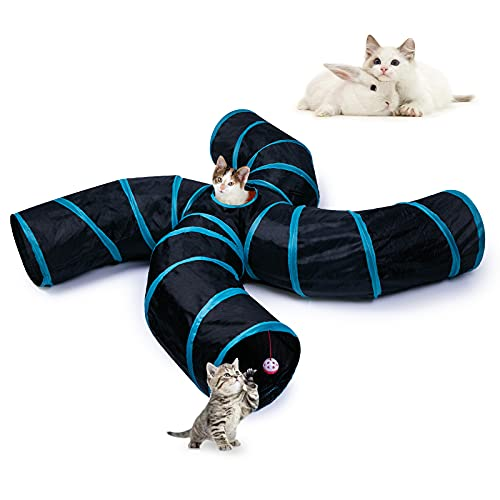 EGETOTA Cat Tunnel, 4 Way S Shape Collapsible Tube with Interactive Ball & Storage Bag, Pet Toys for Small Pets, Cat, Puppy, Kitty, Kitten, Rabbit (Black & Blue)