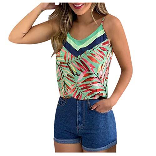 Débardeur Femme Mousseline en Soie Top Ete Col V Sexy Bouton Tee Shirt Casual Camisole Haut Chic Classique Tops Gilet (XL,Vert)