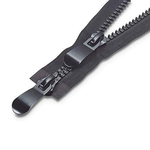 Supremery 11 mm rits 80 cm nylon rits 2-delig deelbaar voor jas parka met schuif en rits - extra groot