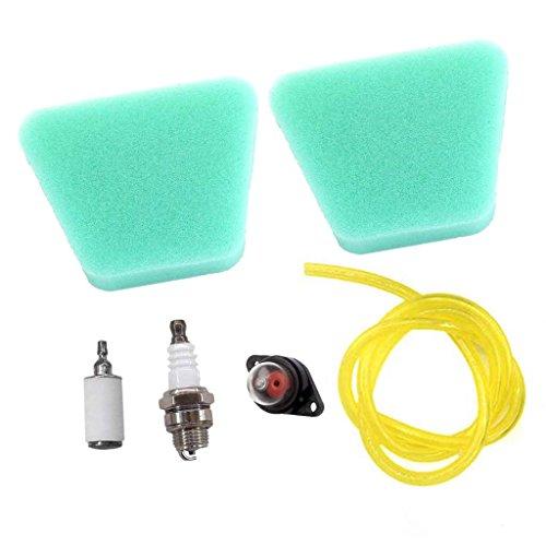 AISEN 2x Luftfilter für Partner 350 351 370 371 390 420 Poulan 2050 2115 2150 mit Zündkerze Primer Pumpe Benzinfilter