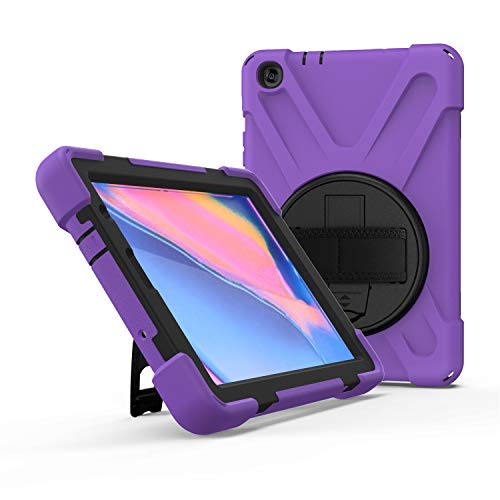 IVY 360 Degrees KickBracelete Caso Capa para Samsung Galaxy Tab A 8.0 with S Pen Case (2019) SM-P200/P205 Bracelete Caso with Faixa Wrist and Distância do ombro - Purple