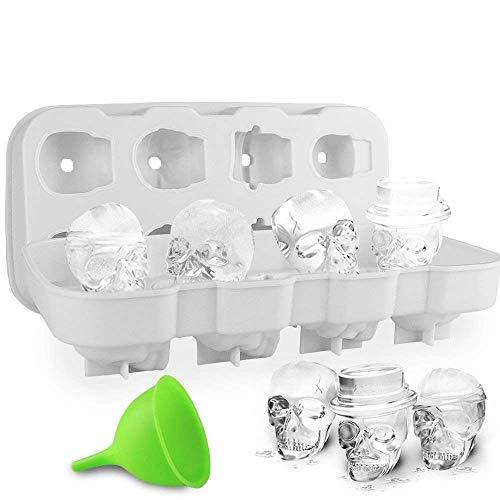 HoneyHolly 3D BPA Frei Schädel Eiswürfelform Mit Deckel, Flexible Lebensmittel Gerade Silikon EIS Würfel Schokolade Süßigkeiten Schimmel Trays, Perfekte für Kinder
